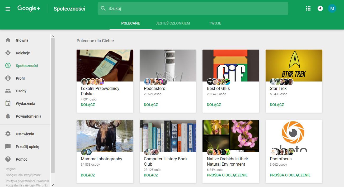 Google Plus - Społeczności